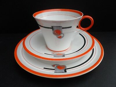 "Rare Shelley Art Deco ""Fruit"" 12197 Vogue pattern Regent shape tea trio. C.1933"