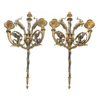 Pair French Empire style bronze two light sconces Lot 1371