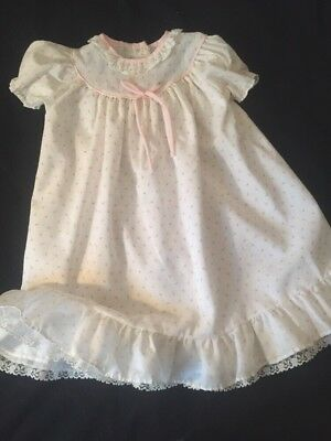 Vintage Alexis Baby doll Rosebud Dress gown 0-3 Mo  0-13 lbs elastic relaxed VGC