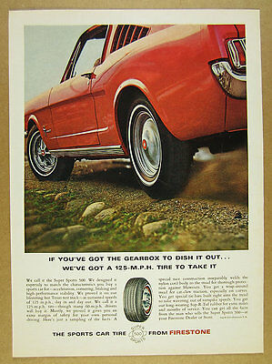1966 red Ford Mustang Fastback photo Firestone SS 500 Tires vintage print Ad