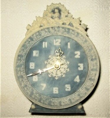 Vintage INCOLAY Stone Clock Blue and White Analog Dial Big Old Fashioned
