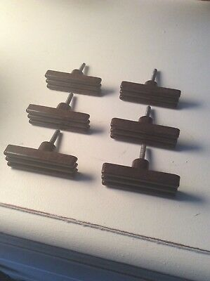 Set X 6 Antique Walnut Bakelite Art Deco Chest Drawers Pull Handles 1920S