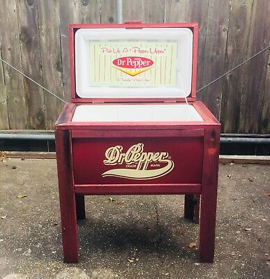 Extremely RARE Dr Pepper Wooden Vintage Cooler On Legs Ice Chest