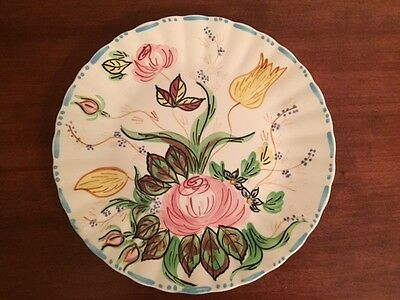 "Blue Ridge Pottery FLORAL PLATE w/ WWII VICTORY SYMBOLS. 10""  MINT CONDITION"