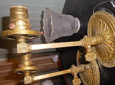 Pair of Antique Victorian Era Brass Electric Wall Sconces with Shades Set of 2