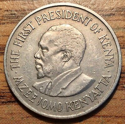 1969 Republic of Kenya One Shilling Jomo Kenyatta Coin About Uncirculated