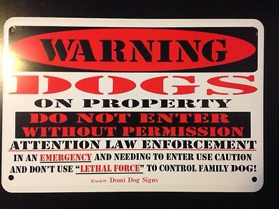 "Metal Warning Dogs On Property Dog Sign For FENCE ,Beware Of Dog 8""x12"""