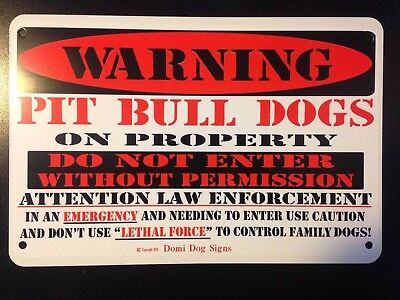 "Metal Warning Pit Bull Dogs Sign For FENCE,Beware Of Dog 8""x12"""