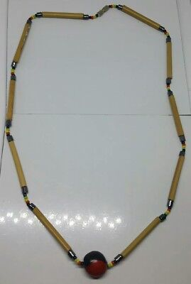 Vintage 1970s wooden and glass seed beaded necklace. Costume jewellery.