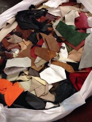 2Kg Leather Scraps, Reminants, Pieces, Mixed Colours ans Sizes, FREE P+