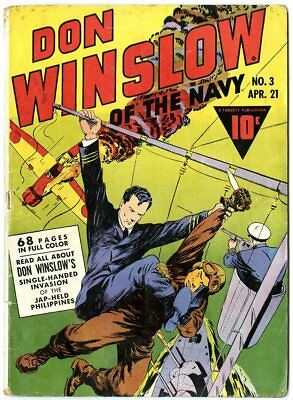 Don Winslow of the Navy #3 VG+ 4.5 off-white pages  Fawcett  1943  No Reserve