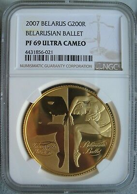 "Belarus 2007 1oz. Gold 200 Roubles NGC PF-69 Ult. Cameo "" BALLET"""