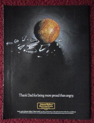 1989 Print Ad Johnnie Walker Black Label Whisky ~ Baseball Thank Dad Being Proud