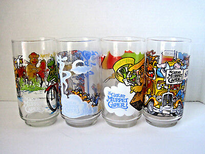 Set of 4 McDonalds The Great Muppet Caper Cups: Henson Associates, Inc. 1981