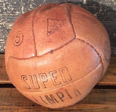 RARE Antique Vtg Early 20s-30s 12 Panel Leather Signed Soccer Ball Super Olimpia