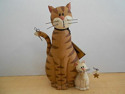 Blossom Bucket Tabby Kitty Cat W/ Friend W/ Two Hanging Stars 4.5 Inches By Suzi