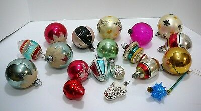 Vintage Mixed Lot 19 Mercury Glass Ornaments West Germany Shiny Brite Usa