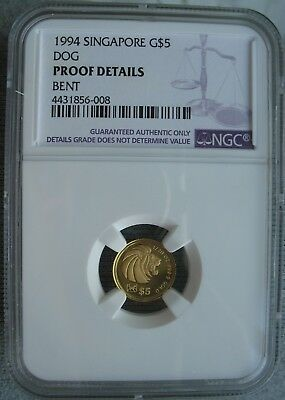 1994 Singapore Gold 5 Dollars NGC PROOF DETAILS Lunar Series Year Of The Dog