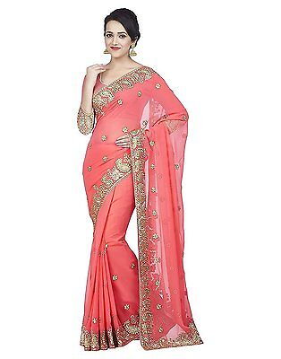 Pink Bollywood Saree Party Wear Indian Pakistani Ethnic Wedding Designer Sari