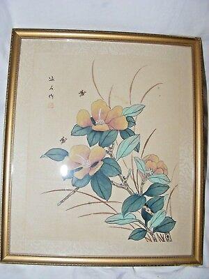 Antique Vintage Chinese Painting On Silk Flowers Insects Signed Seal Framed