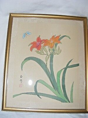 Antique Vintage Chinese Painting On Silk Flowers Buttefly Signed Seal Framed