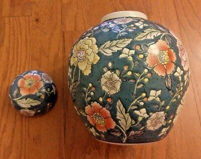 Vintage Floral Vase With Lid – Blue / Violet / Orange–Covered Vase– Hand Painted