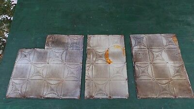 Antique 3 Tin Ceiling Tile Measures 24x18 and 24x14 and 24x24