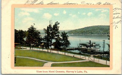 Harvey S Lake Pennsylvania Postcard View From Hotel Oneonta W Steamboat 1910