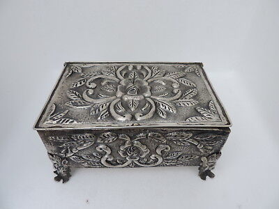 Museum Quality Signed Silver 900 Figural Jewelry Box By Alfredo Ortega Mexico