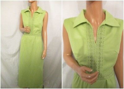VINTAGE 1960s 1970s UK:10/12 GREEN CRIMPLENE SLEEVELESS CUT OUT MAXI FANCY DRESS