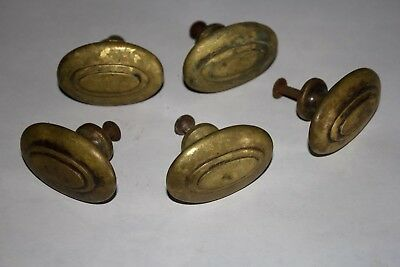 Antique 5 lot HEAVY Solid Brass Drawer Door knobs cabinet pulls Handles