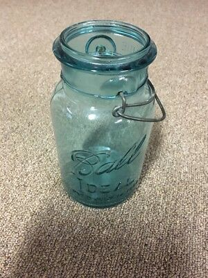Vintage Ball Ideal Pat D July 14 1908 Aqua Mason Jar #7.