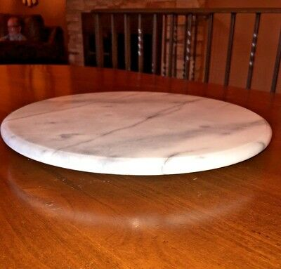 """White Marble with Gray Veins ~ Revolving Lazy Susan 12"""" Diameter"""