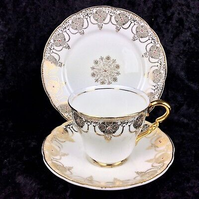 Vintage Chintz Teacup Trio Leonard Street Pottery Burslem China Gold Enamel