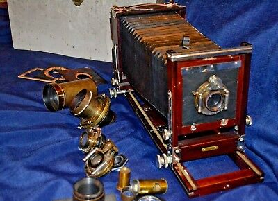 Antique Gundlach Korona Folding Camera W/ Extra Brass Lenses and Accessories