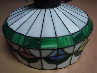 Antique Vintage LRG. FLORAL Tulip MOSAIC STAINED LEADED GLASS LAMP SHADE 23 Inch