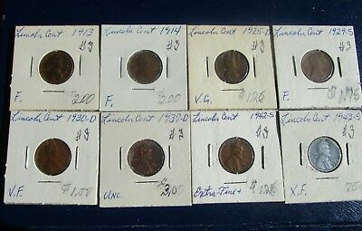 Lincoln Cent 8 Coin Lot--Problem Free--Mixed Dates--1913 & 1943-- G to Unc!  #3