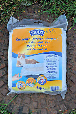 SWIRL 1 pkt Keep Clean Cat Litter Tray (elasticated) Liners (x4) LARGE Brand New