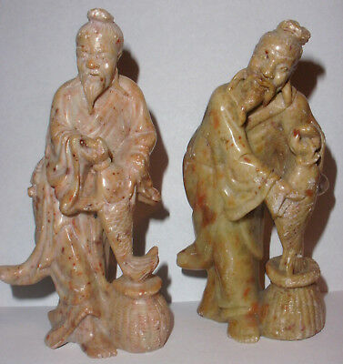 2 Antique vintage Chinese soapstone carved fisherman old man figures signed
