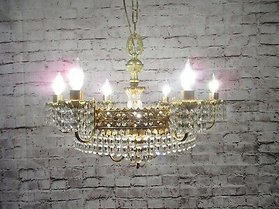 Antique Vintage Chandelier Brass Hollywood Regency 9 Light Ring Crystals