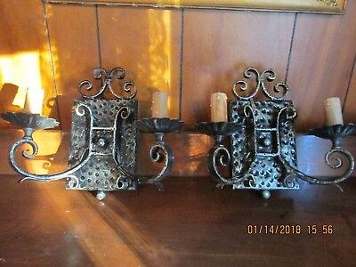 Pair Antique Hammered Wrought Iron 2 Light Wall Sconces out of Masonic Lodge Pa.
