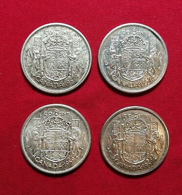 Uncirculated Lot of 4 Canadian Silver Half Dollars 1957 & 1958 Fifty Cent MS60+