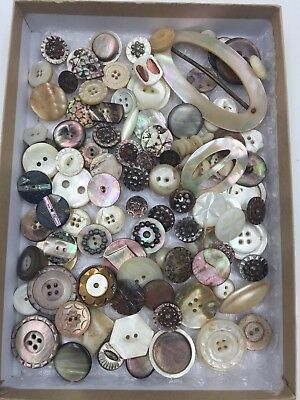 Mixed Unsorted Lot of 100+ Antique Mother of Pearl Shell Buttons & 2 Buckles