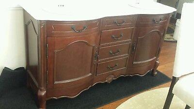 """60"""" Antique Traditional Style Double Sink Bathroom Vanity Walnut  Marble Top"""