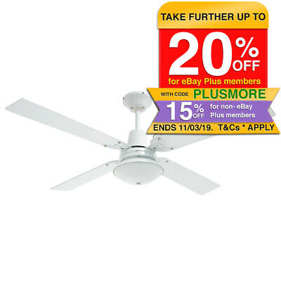 Heller Maxwell 1200mm White/Cherrywood 4 Blade Ceiling Fan/Air Cooling w/Light
