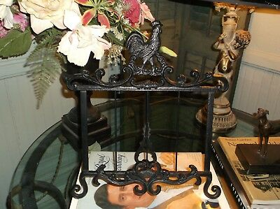 Elegant Country French Style Cast Iron Rooster Motif Cook Book Holder