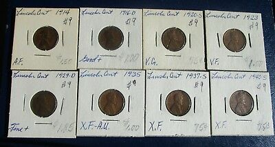 Lincoln Cent 8 Coin Lot--Problem Free--Mixed Dates--1914 & 1940-- G to XF!  #9