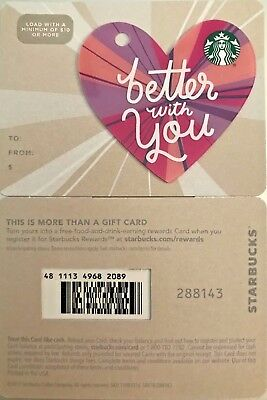 2018 Starbucks Valentine Die Cut Heart You Are Loved Gift Card No