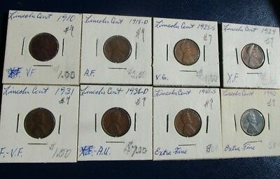 Lincoln Cent 8 Coin Lot--Problem Free--Mixed Dates--1910 & 1943-- VG to AU!  #7