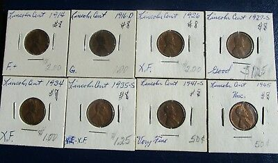 Lincoln Cent 8 Coin Lot--Problem Free--Mixed Dates--1914 & 1945-- G to Unc!  #8